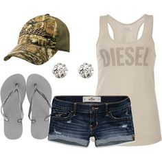 """buckwild"" by shaleestout on Polyvore..maybe some chuck Taylor's instead of those tacky flip flops...just saying"