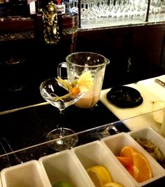 """The """"secret"""" ingredients of Bellini Love: Raspberry, Peer and peach smoothie and Prosecco.Bellini Love"""