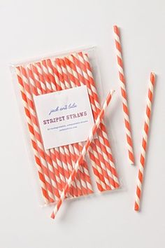 Stripey Straws: falls into the category of useless but charming  (maybe more orange than red, but whatever)