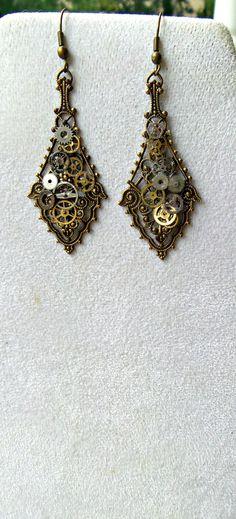 Steampunk Earrings Industrial Brass by SteampunkEarthstones, $25.00