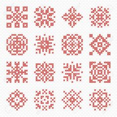 Illustration of Set of cross stitch element for embroidery design. Decorative blank for frames and patterns. Cross-stitch snowflake, flower and geometric ornament. vector art, clipart and stock vectors. Cross Stitch Designs, Cross Stitch Patterns, Cross Stitching, Cross Stitch Embroidery, Cross Stitch Geometric, Crochet Circles, Banner Printing, Tapestry Crochet, Thread Crochet