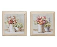 Set di 2 quadri decor in legno Nature, 31x31x3 cm
