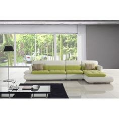 White and Green Leather Sectional Sofa