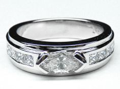 Engagement Ring - Modern Horizontal Marquise Diamond Engagement Ring Princess Diamonds Band 0.70 tcw. In 14k White Gold - ES700D