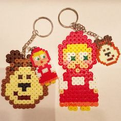 Masha and The Bear keyrings hama beads by rainbow_ironed