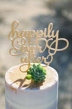 Happily Ever After Wedding Cake Topper - Gold cake topper - laser cut cake topper - wedding cake - wedding details - laser cut - gold