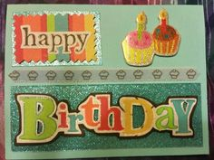 Happy Birthday card, cup cakes