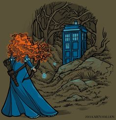 Merida and the Doctor by Karen Hallion (t-shirt design variation)-love this! Empowered girl & the Doctor