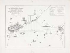 Pieter le Comte   Palembangse batterijen beschieten de Nederlandse oorlogsschepen tijdens de tweede expeditie, 1821, Pieter le Comte, Desguerrois & Co., 1821   Plan van de rivier bij Palembang met de ligging van de vijandelijke kustbatterijen en de Nederlandse oorlogsschepen in de ochtend van 24 juni 1821 tijdens de Tweede expeditie naar Palembang op Sumatra. Rechtsboven de legenda A-L en 1-10.