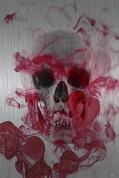 Pink skull watercolor painting
