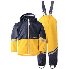 e11c01b7b21 Didriksons  Waterman Kids Galon® PU Waterproofs Set - Yellow   Navy