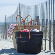Natural Raffia Tote, Navy in New Trending Summer House at Terrain
