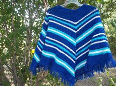 This poncho is very easy to make. Made this one for my 12 year old grandson. He wears a size 14-16 in boys. I made this one to fit a little ...