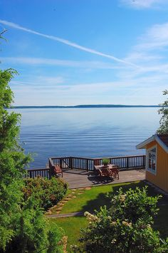Swedish cottage on the water Lakeside Living, Lakeside Cottage, Outdoor Living, Lakeside View, Swedish Cottage, Cottage Style, Waterfront Property, Lake Life, My Dream Home