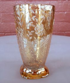 Jeannette Glass Iridescent Floragold Louisa Footed 10 oz Tumbler no band on rim #JeannetteGlass