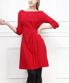 Red Gathered Three-Quarter Sleeve Dress | Something special every day
