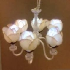 6-Arm, rose color fabric flower dollhouse ceiling lamp-C12 W