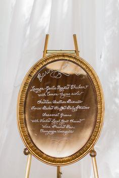 gold mirror + reception menu @ivyrobinson @corbin