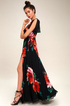 Sonic Bloom Black Floral Print Wrap Maxi Dress 3