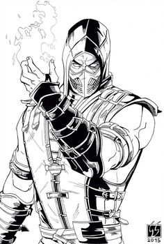 """"""" Inferno Scorpion (black and white). I really love this fight style in MKX Enjoy Scorpion Mortal Kombat X (black and white) Escorpion Mortal Kombat, Mortal Kombat Tattoo, Mortal Kombat X Scorpion, Sub Zero Mortal Kombat, Comic Books Art, Comic Art, Desenhos League Of Legends, Coloring Books, Coloring Pages"""