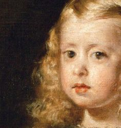 Diego Velázquez, Infantina Margarita Teresa in White, 1656 (detail) List Of Paintings, Old Paintings, Spanish Painters, Spanish Artists, Painting For Kids, Painting & Drawing, Close Up Art, Diego Velazquez, Renaissance Portraits