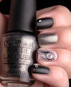 Cute Nails #nail #unhas #unha #nails #unhasdecoradas #nailart #gorgeous #fashion #stylish #lindo #cool #cute #fofo #pena #feather #preto #black