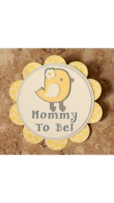 Chick themed button corsage pin for baby shower- grey cream yellow- 6 pack