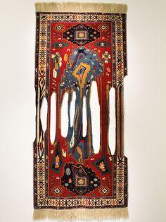 "Faig Ahmed, ""Impossible viscosity"", 100x250cm, tappeto tessuto a mano, 2012"