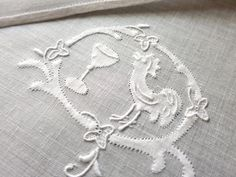 FINE Cameo ROOSTER & MARTINI Vtg Madeira Embroidered 10 Cocktail Napkins Linen
