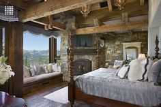 Yellowstone Club Summit Residence - rustic - bedroom - other metro - Locati Architects Rustic Bedroom Design, Rustic Master Bedroom, Master Bedroom Design, Home Decor Bedroom, Rustic Bedrooms, Bedroom Ideas, Dream Bedroom, Outdoor Bedroom, Bedroom Retreat