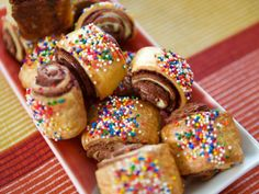 """Chocolate Sea Salt Rugelach (Generational Goodies) - Molly Yeh, """"Girl Meets Farm"""" on the Food Network. Cream Cheese Eggs, Chocolate Cream Cheese, Chocolate Croissant, Chocolate Pastry, Chocolate Desserts, Chocolate Chips, Best Dessert Recipes, Holiday Recipes, Delicious Recipes"""