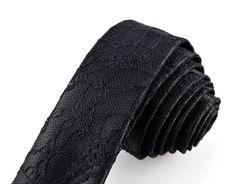 Black Lace Tie Black Tie Lace Tie Black by MissEngagedBoutique