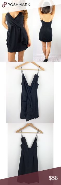"Anthropologie Black Silk Dress Anthropologie Black Silk Dress. Olga Kapustina Brand. Spaghetti Straps. Super comfortable and lightweight. Excellent Condition. 100% SILK. Zippers down the back. Size 6. Chest-34"" waist-28"" hips-36"" length-35"" Anthropologie Dresses Mini"