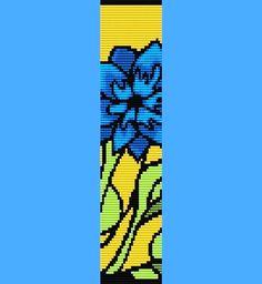 Blue Flower Bracelet Bead Pattern Loom Only - LoveItSoMuch.com