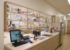Trends in veterinary hospital design - pass through between Procedure and Pharmacy