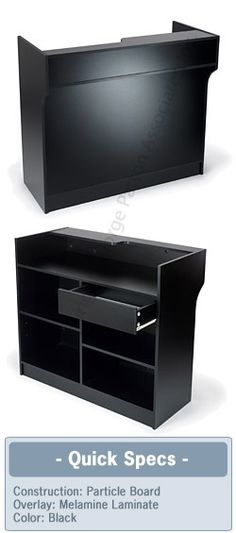 "Register Stand: 48""W Ledgetop Counter, Black"