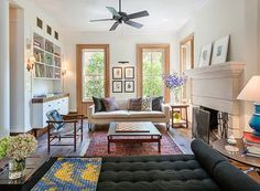 Michelle Williams's Brooklyn Townhouse LOVE the back-less couch to keep space open :)