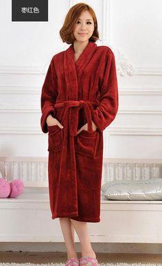 42468c3f7385 Bathrobe men Coral velvet thicken long sleeves pajamas Flannel couple nightgown  Home clothes bathrobe