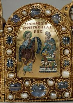 Closeup view of the Isaiah Plate of the Imperial Crown of the Holy Roman Empire.