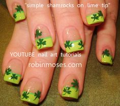 Simple Shamrocks on Lime Tip [VIDEO] by Robin Moses | Beauty Tips N Tricks