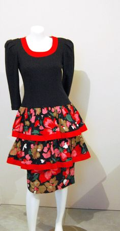 Vintage Dress Red Ruffles on Black by CheekyVintageCloset on Etsy