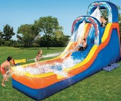 Banzai Double Drop Falls Water Slide with 1 Water Blasting Cannon, Waterfalls & Splash Pool (Toy) Water Toys, Water Play, Moon Bounce, Inflatable Water Park, Bouncy House, Pool Floats, Pool Toys, Cool Pools, Awesome Pools