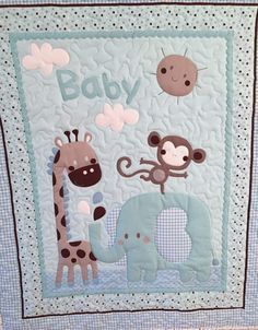 Jungle Friends Baby Boy Quilt by onebeelane on Etsy Sooo cute!