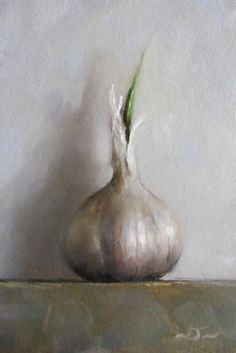 """Neil Nelson, """"Head of Garlic"""" - 8x5.5, oil on panel--at Principle Gallery"""