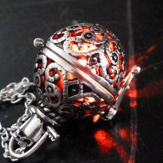 Steampunk FIRE necklace pendant charm locket by UmbrellaLaboratory on Etsy