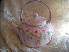 hand painted shabby chic french country hp rose tea by rusebuds4u