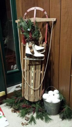 Front step decorations using the old sled from when I was a kid