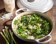 Spring Pea, Mint and Goats Cheese Risotto with Pea Shoots and Crème Fraiche- Using delicious spring ingredients.