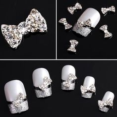 350buy 20x 3D Clear Alloy Rhinestones Bow Tie Nail Art DIY Decorations Thoroughly clean the outer lining of one's toenails, comb along with base glossiness, put it onto toenails,after that used with nail polish, UV solution or perhaps polymer complete, and so on.  20pcs Complete Craft Build-it-yourself Designs (Your phony nail bed ideas aren't provided) ($5.59)
