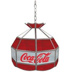 coke-1600-v8 Coca Cola Vintage Glass Lamp - Red White & Gray - 16W in.; I hadn't thought about a lamp like this for the kitchen, but it could be pretty cute!